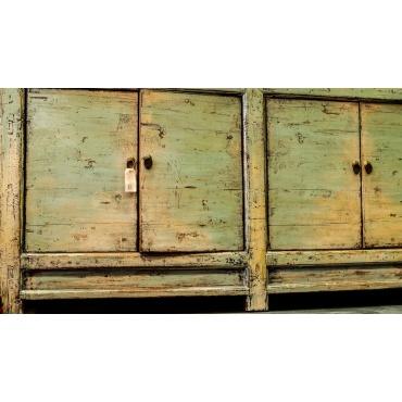 commode buffet meuble chinois bleu ciel gris ancien