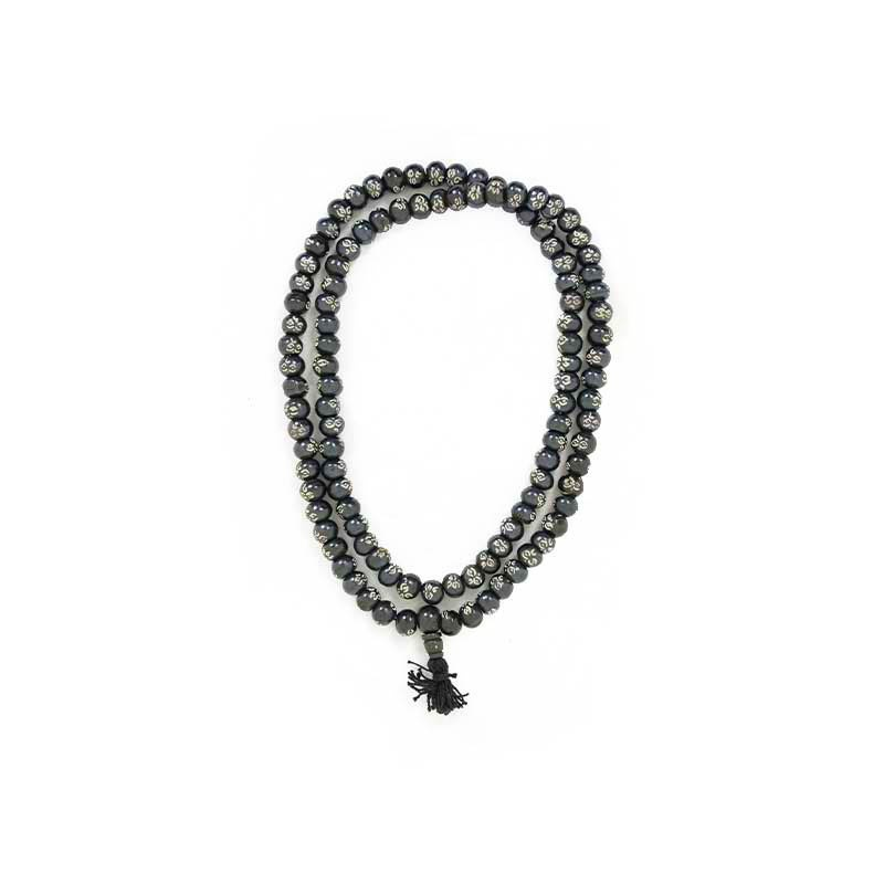 collier mala 108 perles yeux de bouddha en bois