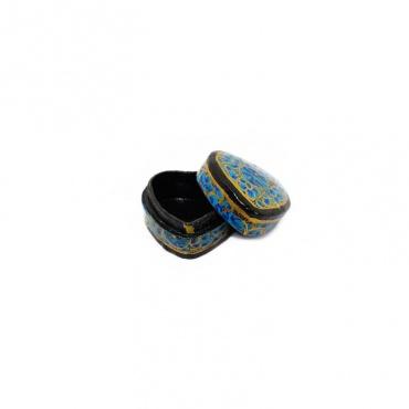 boîte à bijoux en forme de cœur bleu fleuri