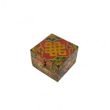boîte tibétaine en bois décorée nœud sans fin ou d'éternité