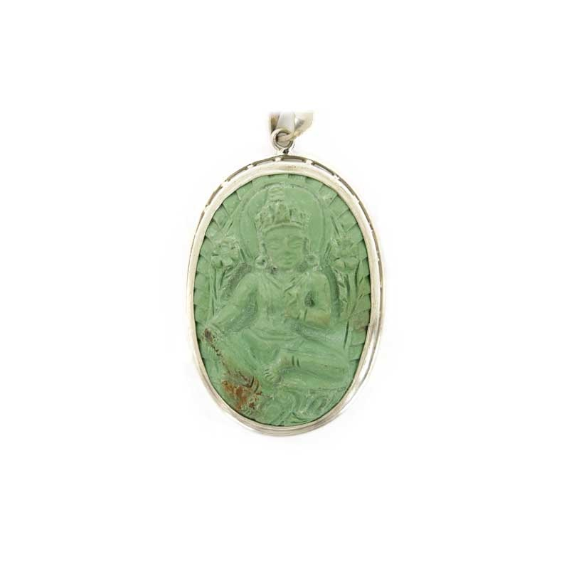 pendentif médaillon tara verte en turquoise