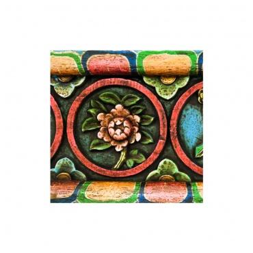 fleur de lotus porte-bonheur bouddhiste en bois sculpté 8 signes auspicieux