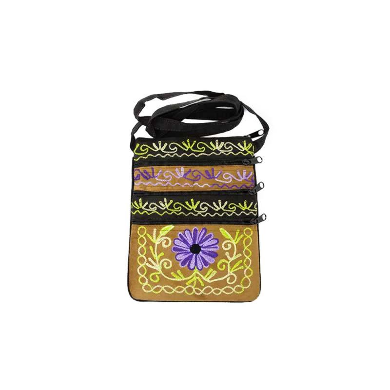 pochette multipoche petit sac imitation cuir doux violet beige vert fluo
