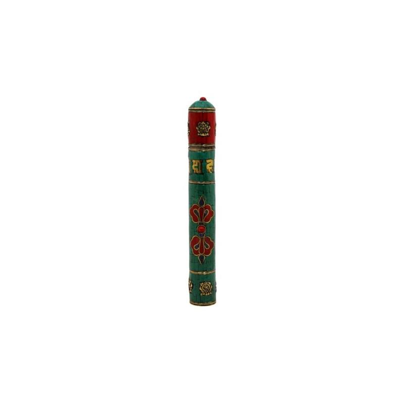 étui pour encens tibétaine cuivre et mosaique
