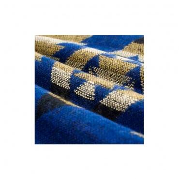 châle couverture motif ethnique bleu beige crème pour la méditation et les promenades