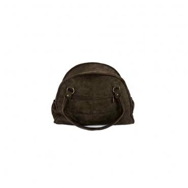 sac à main marron en cuir brodé et divers poches