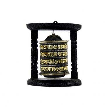 moulin de prière bouddhiste mural bois et métal