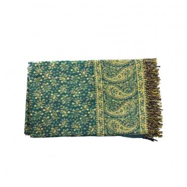 châle couverture vert et beige motifs indiens délicats et fleuri