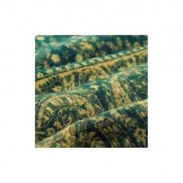 châle couverture toute saison petit motif vert et beige indien