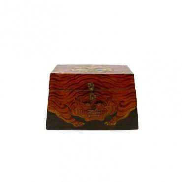 coffret en bois tigre joyaux nœud sans fin tibétain bouddhiste