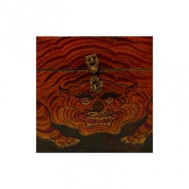 tigre sur boite tibétaine bouddhiste