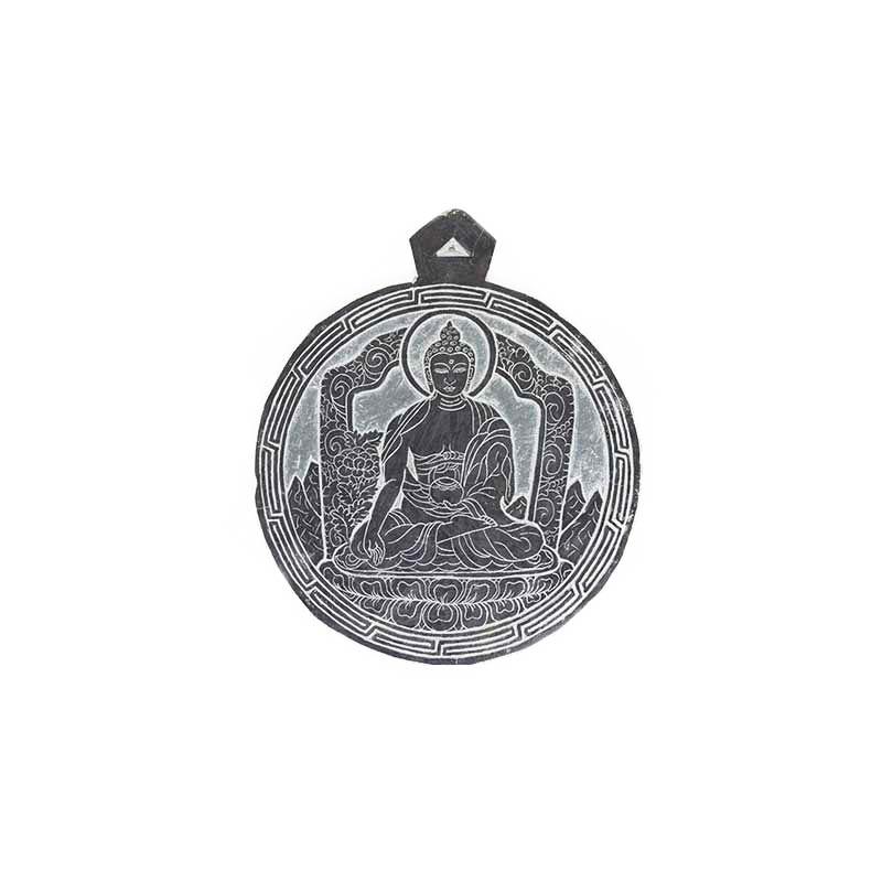pierre mani gravé bouddha ratna sambhava