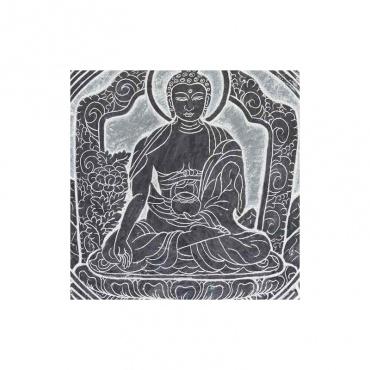 pierre à suspendre bouddha sculpté mani bouddhiste tibétain