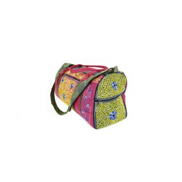 sac de voyage week-end tissu imitation daim et brodé