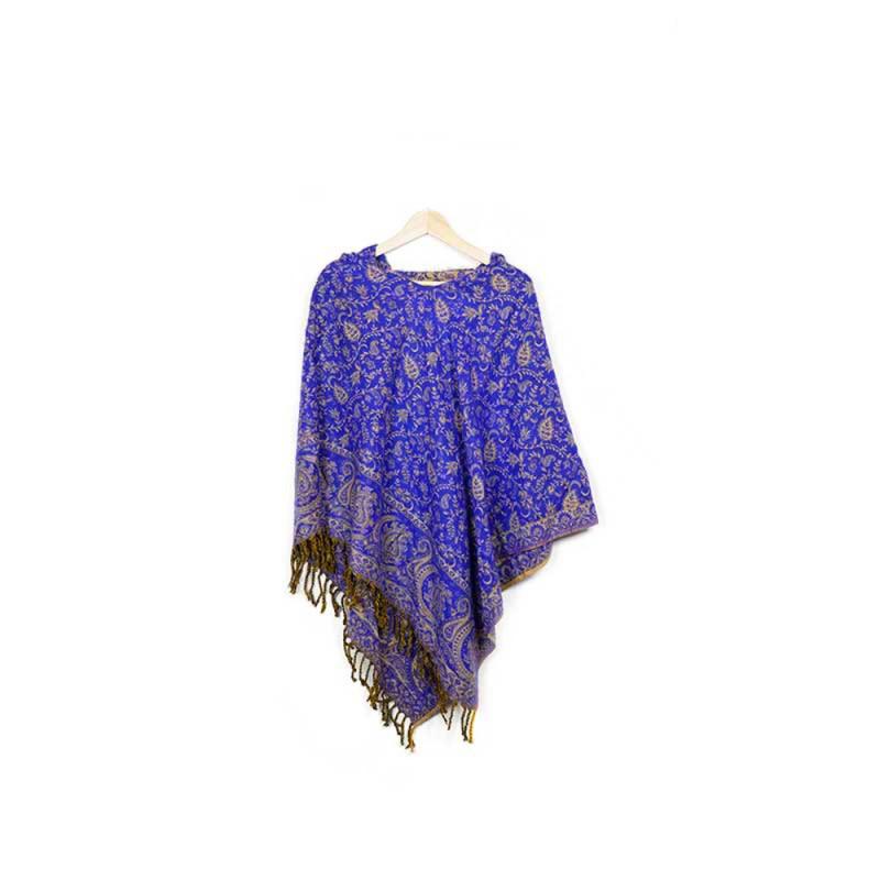 poncho en laine synthétique bleu violet beige inde népal