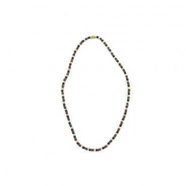collier tour de cou en perles de bois colorées