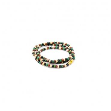 petit collier tour de cou en perles de bois colorées unisexe