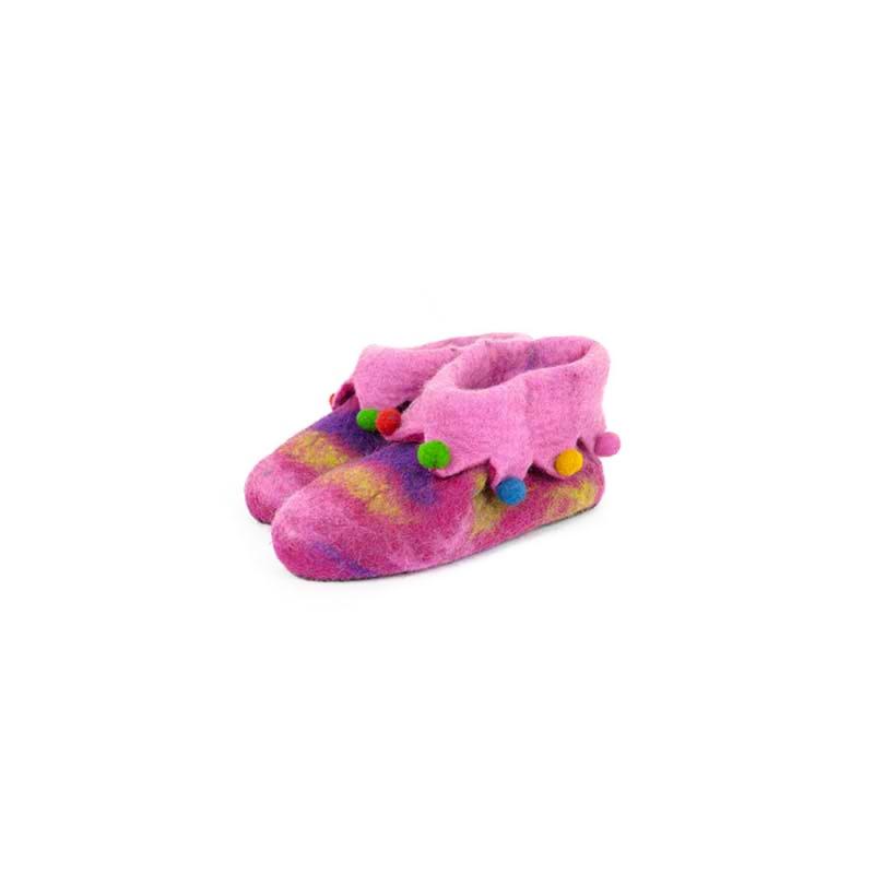 pantoufles chausson en laine bouillie rose taille 36