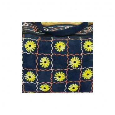 sac de voyage imitation cuir bleu et beige fleuri