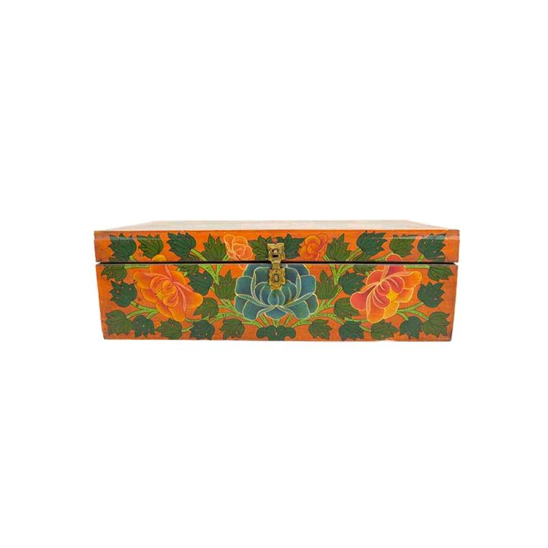 coffre petite malle tibétaine en bois peint lotus et vajra croisé