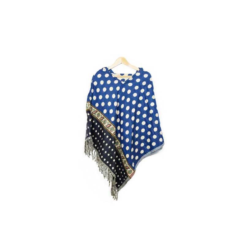 poncho à capuche bleu à pois beige et motifs