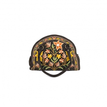 sac en cuir marron demi-lune et brodé de fleurs