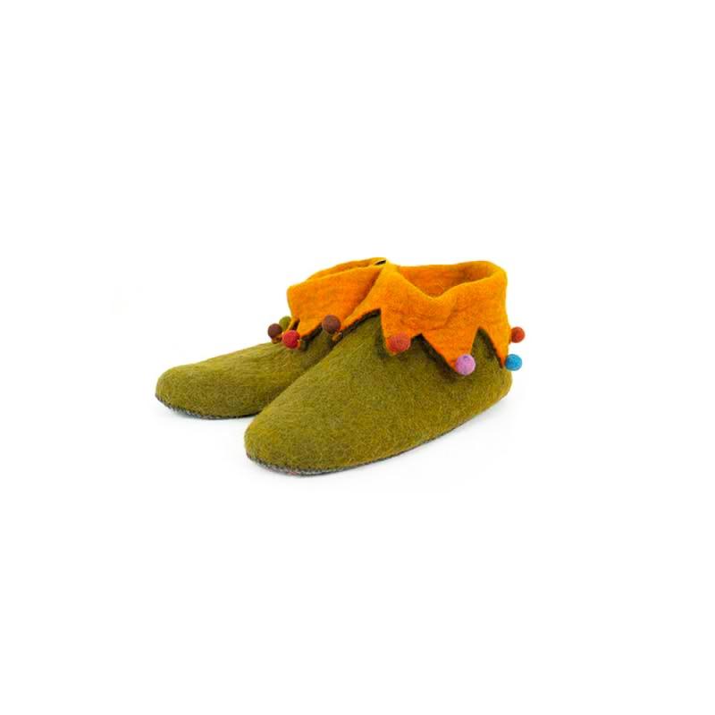 pantoufles chaussons en laine orange et brun bistre 43