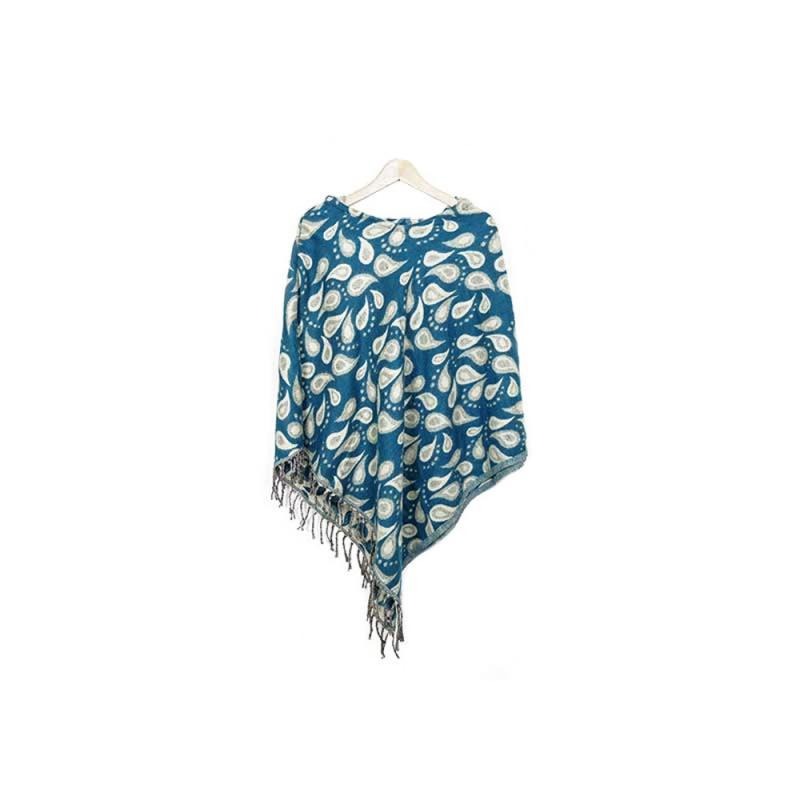 poncho à capuche en laine bleu canard