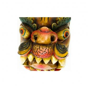 grande tête de dragon tibétain en bois peint