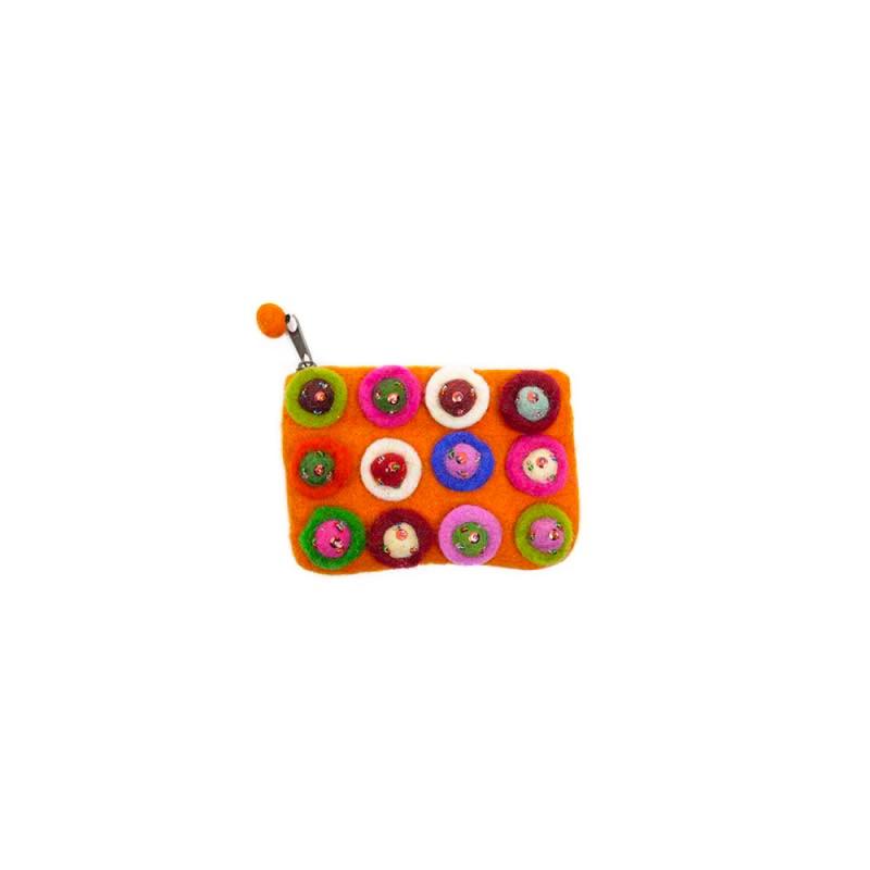 pochette en laine feutrée orange et paillettes