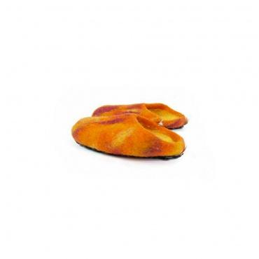 chaussons pantoufles orange pour enfant taille 25-26