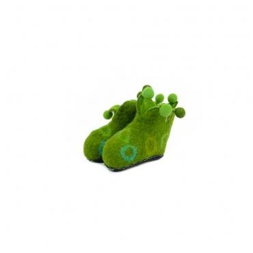 chausson en laine verte pour petit enfant bébé