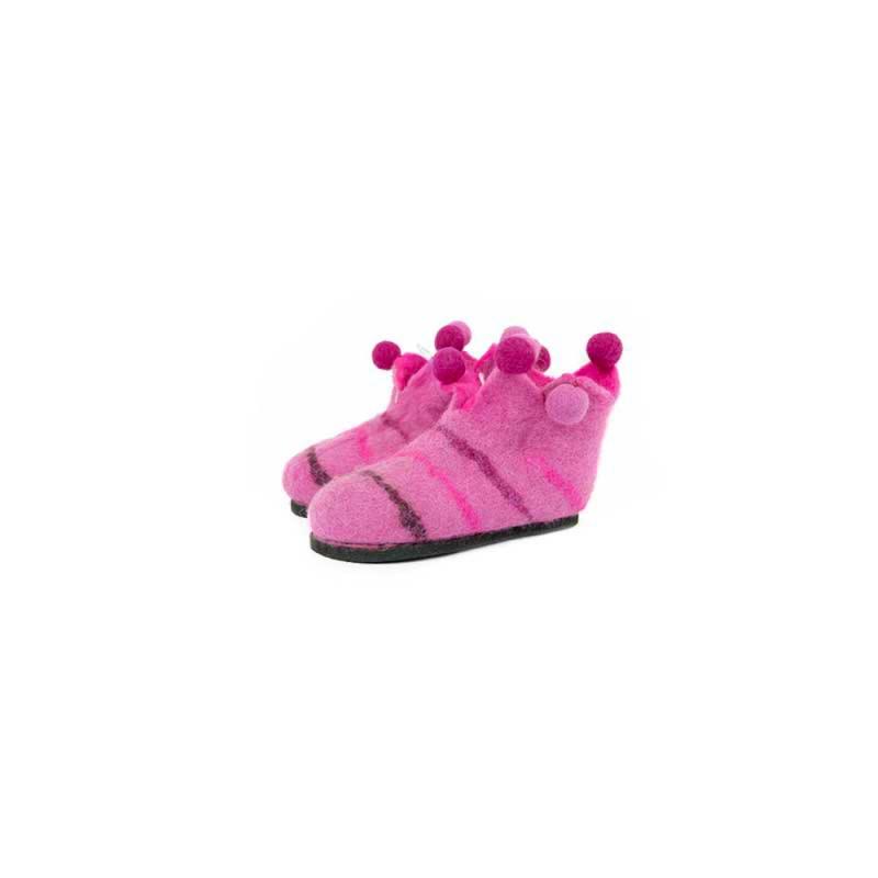 pantoufles chaussons pour fille couleur rose en laine feutrée éthique