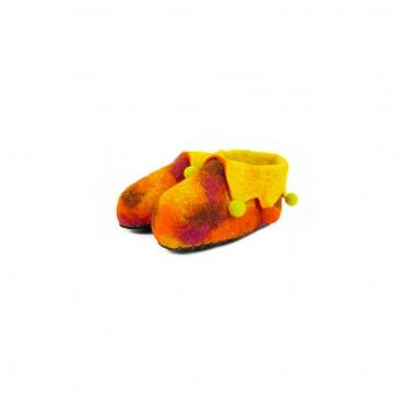 pantoufles enfants jaune orangé sympa taille 30