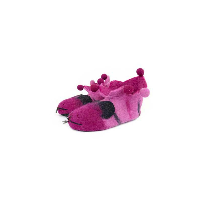 pantoufles animaux en laine bouillie rose taille 36