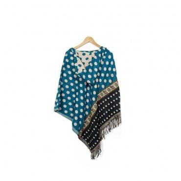poncho avec capuchon en laine bleu paon et pois beige