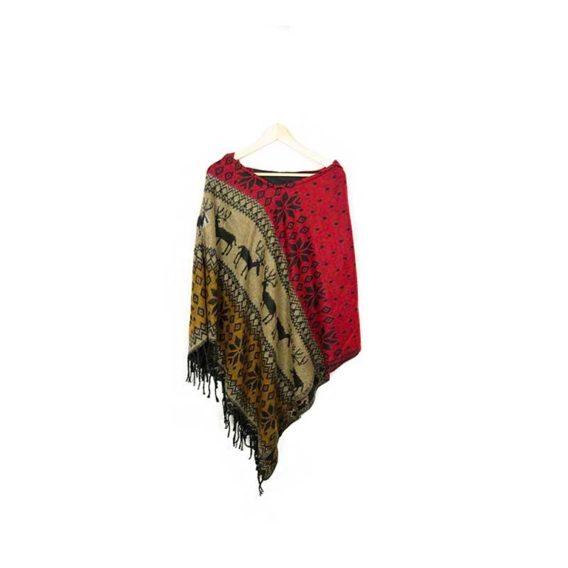 pochon en laine rouge et beige motifs rênes et étoiles