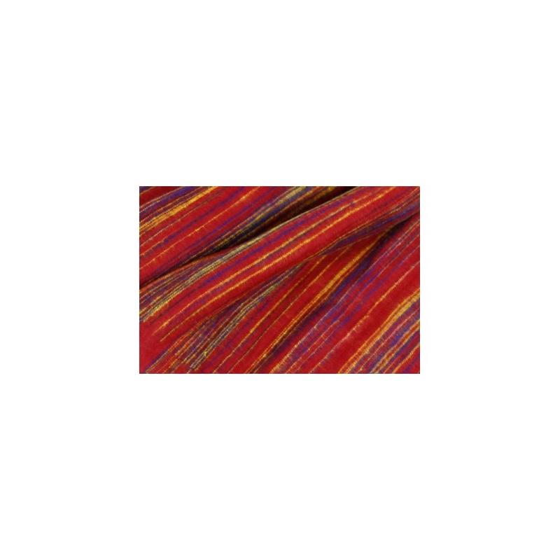 couverture châle laine synthétique rouge violet jaune