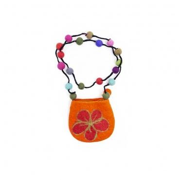 petit sac pochette porte monnaie en laine et boules feutrées multicolores