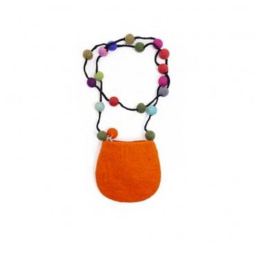 petit sac en feutrine fleur orange et boules multicolores