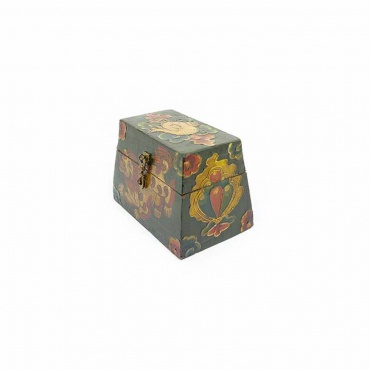 coffre en bois peint lion des neiges conque et joyaux artisanat bouddhiste