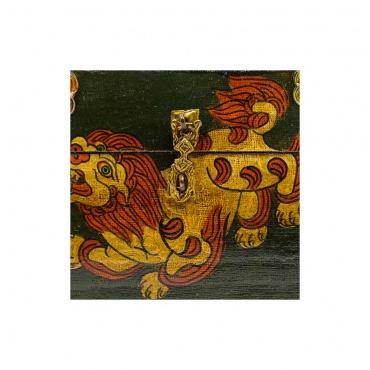 coffret artisanat bouddhiste tibétain lion des neige conque et joyaux