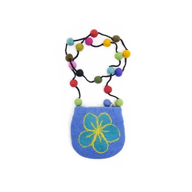 petite pochette bandoulière laine bleu fleurie et boules de laines