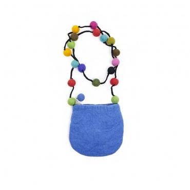 petit sac à bandoulière pochette bleu et fleur