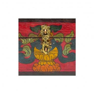 vase aux trésors bouddhiste sur boîte en bois tibétaine