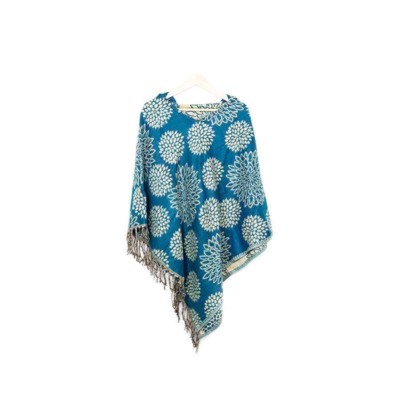 poncho à capuchon en laine couleur bleu sarcelle et lotus beige