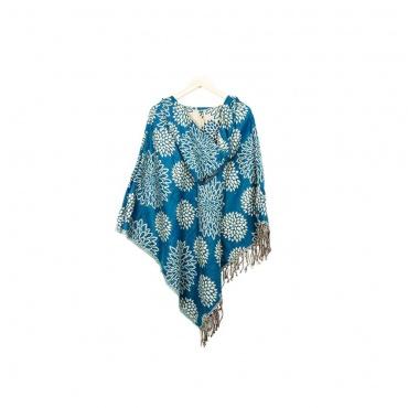 poncho avec capuche bleu sarcelle et fleurs de lotus