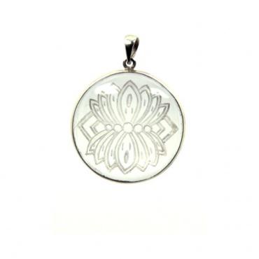 pendentif argent et cristal fleur de lotus épanoui