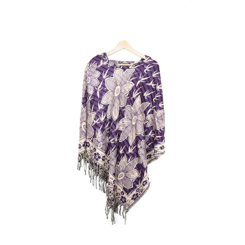 poncho avec capuchon violet et fleurs