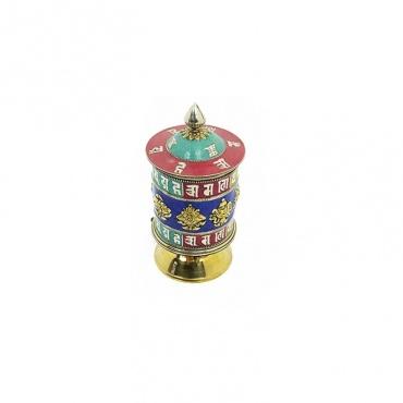 moulin tibétain de prières et signes porte-bonheur bouddhistes